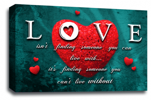 Love Heart Wall Art Picture Quote Red Teal Grey Canvas Print
